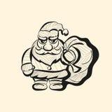 Διανυσματικό παλαιό συρμένο χέρι σκίτσο Santa Στοκ Εικόνες