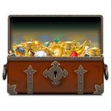 Διανυσματικό παλαιό σφυρηλατημένο πειρατής στήθος με το χρυσό απεικόνιση αποθεμάτων