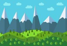 Διανυσματικό πανοραμικό τοπίο κινούμενων σχεδίων βουνών Φυσικό τοπίο στο επίπεδο ύφος με το μπλε ουρανό, τα σύννεφα, τα δέντρα, τ Στοκ Εικόνα