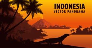 Διανυσματικό πανόραμα της Ινδονησίας με το δράκο komodo διανυσματική απεικόνιση