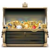 Διανυσματικό παλαιό ξύλινο στήθος με το χρυσό Στοκ Φωτογραφίες