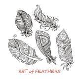 Διανυσματικό περίκομψο σύνολο τυποποιημένων και αφηρημένων φτερών Zentangle Στοκ φωτογραφία με δικαίωμα ελεύθερης χρήσης