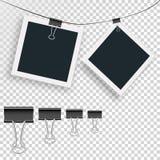 Διανυσματικό πλαίσιο δύο φωτογραφιών και καθορισμένος συνδετήρας συνδέσμων σε ένα απομονωμένο υπόβαθρο Στοκ Φωτογραφίες