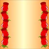 Διανυσματικό πλαίσιο με τα τριαντάφυλλα διανυσματική απεικόνιση