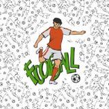 Διανυσματικό ποδόσφαιρο ποδοσφαίρου στα αθλητικά ομοιόμορφα χτυπήματα η σφαίρα Εκλεκτής ποιότητας κίνηση αθλητικών τύπων στο υπόβ Στοκ εικόνες με δικαίωμα ελεύθερης χρήσης