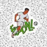 Διανυσματικό ποδόσφαιρο ποδοσφαίρου στο αθλητικό ομοιόμορφο τρέξιμο με τη σφαίρα Εκλεκτής ποιότητας κίνηση αθλητικών τύπων στο υπ Στοκ Φωτογραφίες