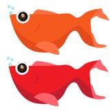 Διανυσματικό πορτοκάλι και κόκκινο χρώματος ψαριών Catoon Στοκ Εικόνα