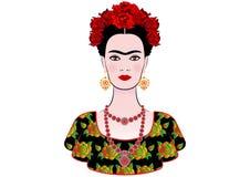 Διανυσματικό πορτρέτο Kahlo Frida, γραφική ερμηνεία, με τα μεξικάνικα εθνικά κοσμήματα ελεύθερη απεικόνιση δικαιώματος