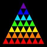 Διανυσματικό πολύχρωμο τρίγωνο που απομονώνεται σε ένα μαύρο υπόβαθρο Διανυσματική απεικόνιση