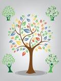Διανυσματικό πράσινο και ζωηρόχρωμο δέντρο στο άσπρο υπόβαθρο απεικόνιση αποθεμάτων