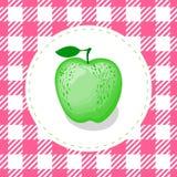Διανυσματικό πράσινο μήλου χρώμα στο χαριτωμένο ρόδινο άνευ ραφής υπόβαθρο σχεδίων κυττάρων ελεύθερη απεικόνιση δικαιώματος