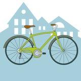 Διανυσματικό πράσινο ποδήλατο με την άποψη πόλεων Στοκ Εικόνες