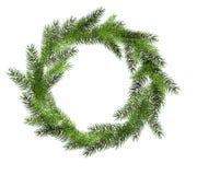 Διανυσματικό πράσινο στεφάνι Χριστουγέννων στο άσπρο υπόβαθρο με το διάστημα αντιγράφων Στοκ φωτογραφίες με δικαίωμα ελεύθερης χρήσης