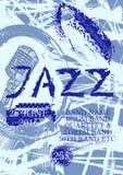 Διανυσματικό πρότυπο αφισών τζαζ, βράχου ή μουσικής μπλε Στοκ εικόνες με δικαίωμα ελεύθερης χρήσης
