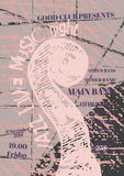 Διανυσματικό πρότυπο αφισών τζαζ, βράχου ή μουσικής μπλε Στοκ Εικόνα