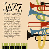Διανυσματικό πρότυπο για την αφίσα συναυλίας τζαζ ή ιπτάμενο που χαρακτηρίζει τα ορχηστρικά όργανα Στοκ Εικόνες