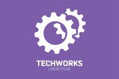 Διανυσματικό πρότυπο εικονιδίων λογότυπων εργαλείων Μηχανή, πρόοδος απεικόνιση αποθεμάτων