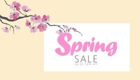Διανυσματικό πρότυπο εμβλημάτων πώλησης άνοιξη ανθών sakura watercolor Ρόδινο λουλουδιών κατάστημα Ιστού αφισών κλάδων προωθητικό Στοκ Φωτογραφίες