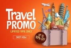 Διανυσματικό πρότυπο εμβλημάτων promo ταξιδιού με ορόσημα παγκόσμιων ` s τα διάσημα τουριστών διανυσματική απεικόνιση