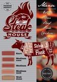 Διανυσματικό πρότυπο επιλογών χρώματος για το steakhouse με την καλλιγραφική εγγραφή διανυσματική απεικόνιση