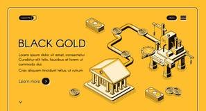 Διανυσματικό πρότυπο ιστοσελίδας επιχείρησης εμπορικών συναλλαγών πετρελαίου απεικόνιση αποθεμάτων