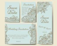 Διανυσματικό πρότυπο καρτών για το γάμο Το σύνολο προσκλήσεων για ευχαριστεί εσείς λαναρίζει, εκτός από την κάρτα ημερομηνίας, ημ Στοκ Εικόνες