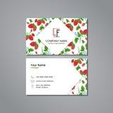 Διανυσματικό πρότυπο καρτών επίσκεψης με τη φράουλα και το λουλούδι σχεδίων Στοκ φωτογραφία με δικαίωμα ελεύθερης χρήσης