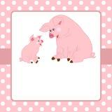Διανυσματικό πρότυπο καρτών με τους χαριτωμένους χοίρους και το υπόβαθρο σημείων Πόλκα Στοκ Εικόνες