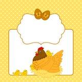 Διανυσματικό πρότυπο καρτών με το κοτόπουλο, την κότα και τα αυγά, κάρτα Clipart Πάσχας Στοκ Φωτογραφία