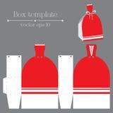 Διανυσματικό πρότυπο κιβωτίων Κόκκινα ευτυχή κουρέλια Στοκ Φωτογραφία