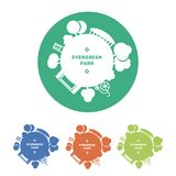 Διανυσματικό πρότυπο λογότυπων πάρκων τοπίων Σφαίρα με τα δέντρα, τις κατασκευές και τις δραστηριότητες Παραλλαγές χρώματος ελεύθερη απεικόνιση δικαιώματος