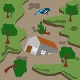Διανυσματικό πρότυπο λογότυπων τέχνης απεικόνισης φυσικής καταστροφής στοκ εικόνα