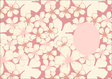 Διανυσματικό πρότυπο με το floral σχέδιο με τα ρόδινα λουλούδια ανθών κερασιών ελεύθερη απεικόνιση δικαιώματος
