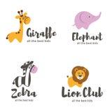Διανυσματικό πρότυπο λογότυπων Ζώα μωρών Στοκ Φωτογραφία