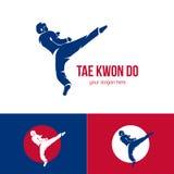 Διανυσματικό πρότυπο λογότυπων taekwondo Διακριτικό πολεμικών τεχνών Έμβλημα για τις αθλητικές εκδηλώσεις, ανταγωνισμοί, πρωταθλή απεικόνιση αποθεμάτων