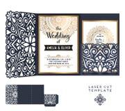 Διανυσματικό πρότυπο περικοπών λέιζερ γαμήλιων καρτών διακοσμητικός τρύγος στ&o ελεύθερη απεικόνιση δικαιώματος