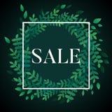 Διανυσματικό πρότυπο πώλησης με το άσπρο τετράγωνο και στεφάνι με τα πράσινα φύλλα απεικόνιση αποθεμάτων
