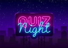 Διανυσματικό πρότυπο σχεδίου αφισών ανακοίνωσης νύχτας διαγωνισμοου γνώσεων Πινακίδα νέου νύχτας διαγωνισμοου γνώσεων, ελαφρύ έμβ ελεύθερη απεικόνιση δικαιώματος