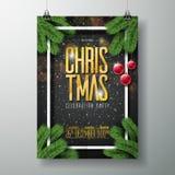 Διανυσματικό πρότυπο σχεδίου αφισών κόμματος Χαρούμενα Χριστούγεννας με την τυπογραφία διακοπών Στοκ Εικόνα