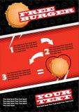 Διανυσματικό πρότυπο σχεδίου ιπτάμενων γρήγορου φαγητού A4 στο μέγεθος Φυλλάδιο και σχέδιο σχεδιαγράμματος Ελεύθερο Burger απεικόνιση αποθεμάτων