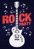 Διανυσματικό πρότυπο σχεδίου ιπτάμενων κομμάτων βράχου με την κιθάρα και τον κόκκινο τίτλο απεικόνιση αποθεμάτων