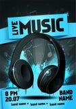 Διανυσματικό πρότυπο σχεδίου ιπτάμενων κομμάτων ζωντανής μουσικής απεικόνισης με το ακουστικό απεικόνιση αποθεμάτων