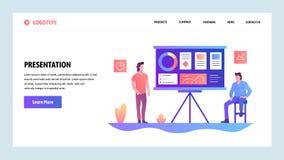 Διανυσματικό πρότυπο σχεδίου ιστοχώρου Επιχειρησιακή παρουσίαση με τα οικονομικά διαγράμματα Έννοιες σελίδων προσγείωσης για τον  διανυσματική απεικόνιση