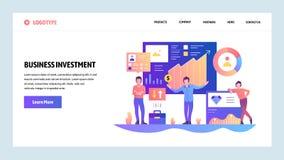 Διανυσματικό πρότυπο σχεδίου ιστοχώρου Χρηματοδότηση, επιχείρηση και επένδυση χρημάτων Έννοιες σελίδων προσγείωσης για τον ιστοχώ απεικόνιση αποθεμάτων