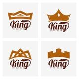 Διανυσματικό πρότυπο σχεδίου λογότυπων κορωνών και βασιλιάδων, tipography, έμβλημα κορωνών Στοκ εικόνα με δικαίωμα ελεύθερης χρήσης