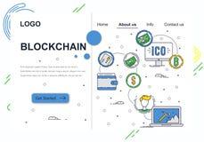 Διανυσματικό πρότυπο σχεδίου τέχνης ιστοχώρου γραμμικό Τεχνολογία και bitcoin cryptocurrency Blockchain Μεταλλεία ICO και crypto απεικόνιση αποθεμάτων