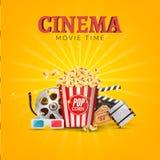 Διανυσματικό πρότυπο σχεδίου αφισών κινηματογράφων κινηματογράφων Popcorn, filmstrip, clapboard, εισιτήρια Έμβλημα χρονικού υποβά Στοκ εικόνες με δικαίωμα ελεύθερης χρήσης