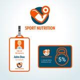 Διανυσματικό πρότυπο σχεδίου λογότυπων αθλητικής διατροφής γυμναστικής Στοκ Εικόνα