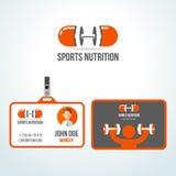 Διανυσματικό πρότυπο σχεδίου λογότυπων αθλητικής διατροφής γυμναστικής Στοκ Φωτογραφίες