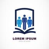 Διανυσματικό πρότυπο σχεδίου λογότυπων Ασπίδα, σκιαγραφία ανθρώπων και ανοικτός ελεύθερη απεικόνιση δικαιώματος